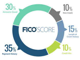 Chart Showing Ingredients of a FICO Score